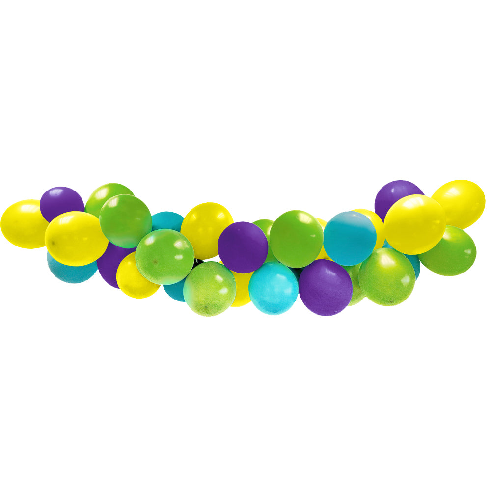 Purple, Green, Turquoise and Yellow Balloon Arch DIY Kit - 2.5m