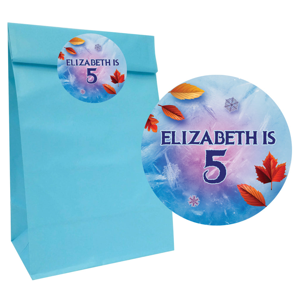 Let It Go Party Bags with Personalised Stickers - Pack of 12