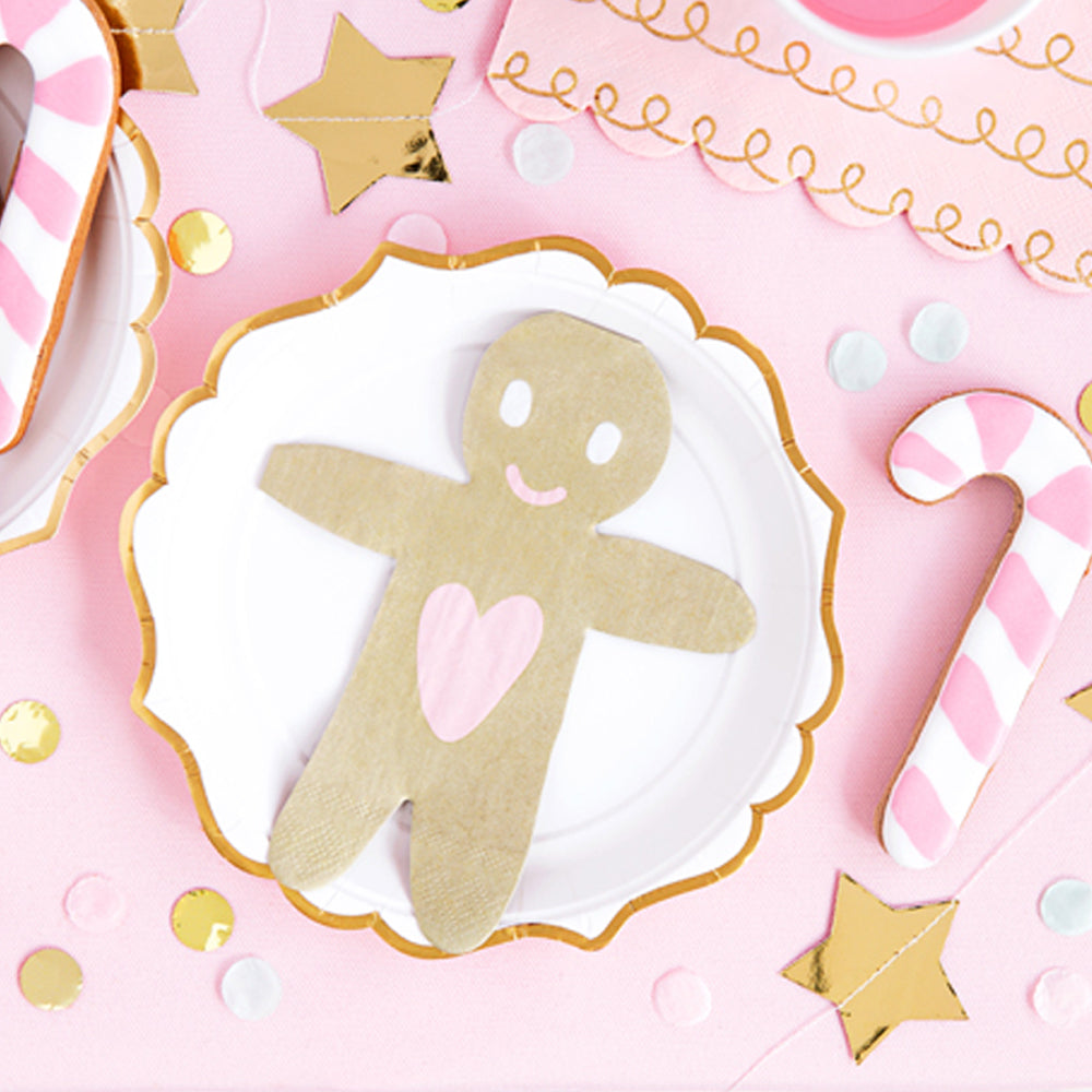 Gingerbread Man Napkins - 16cm - Pack of 20
