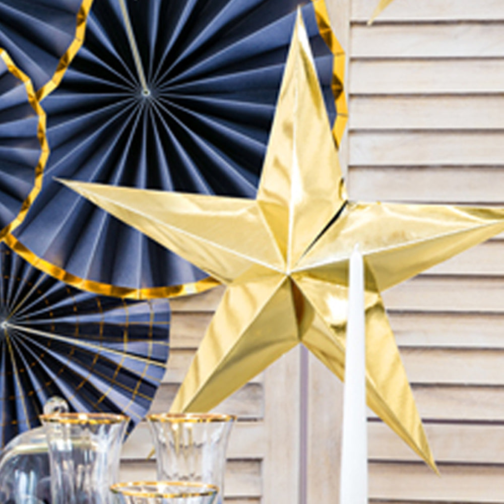 Gold Star Hanging Decoration - 70cm - Each