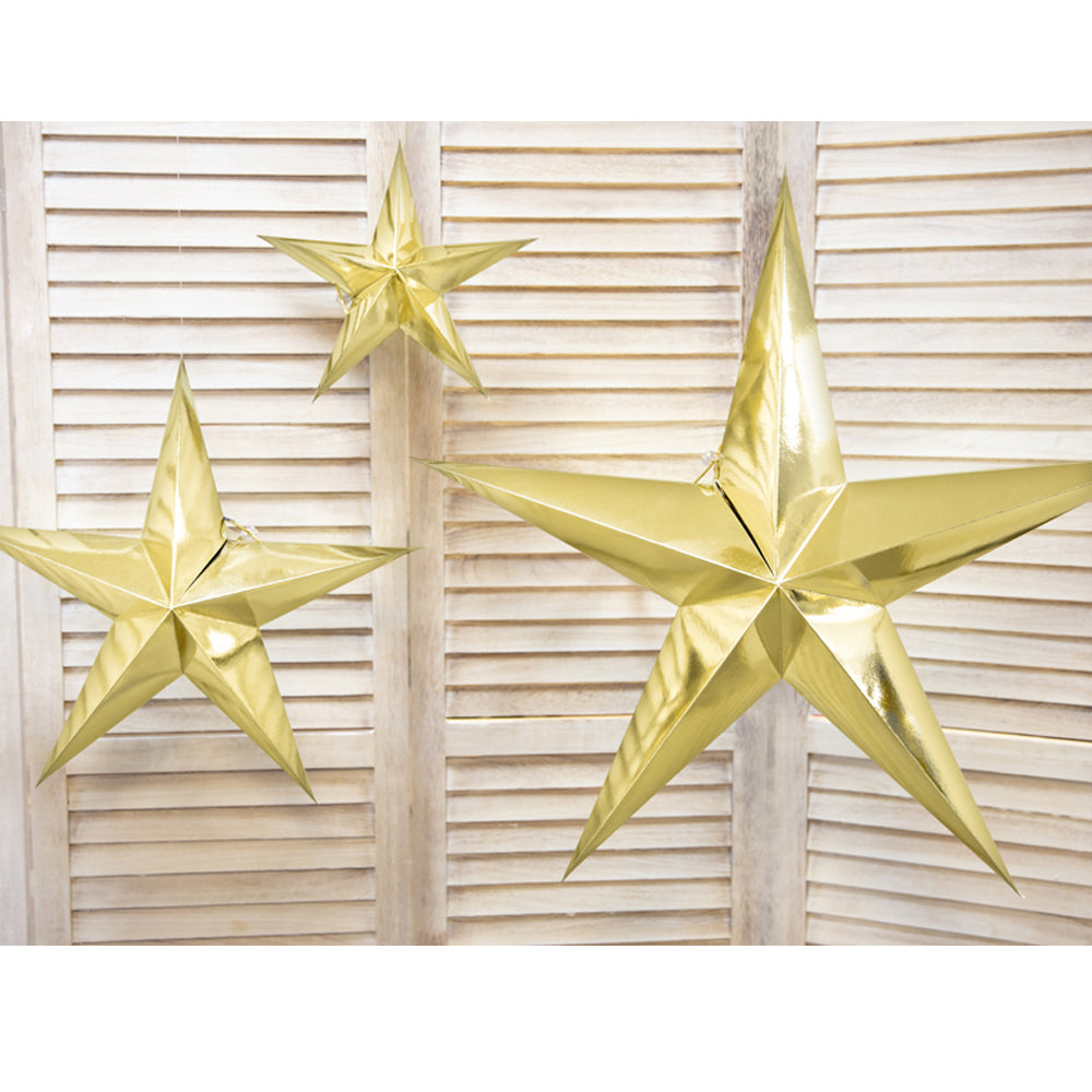 Gold Star Hanging Decoration - 30cm - Each