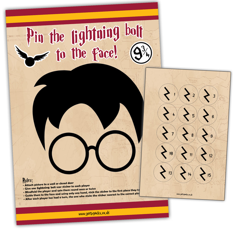 Pin The Lightning Bolt Scar On The Wizard Game With Stickers - A3