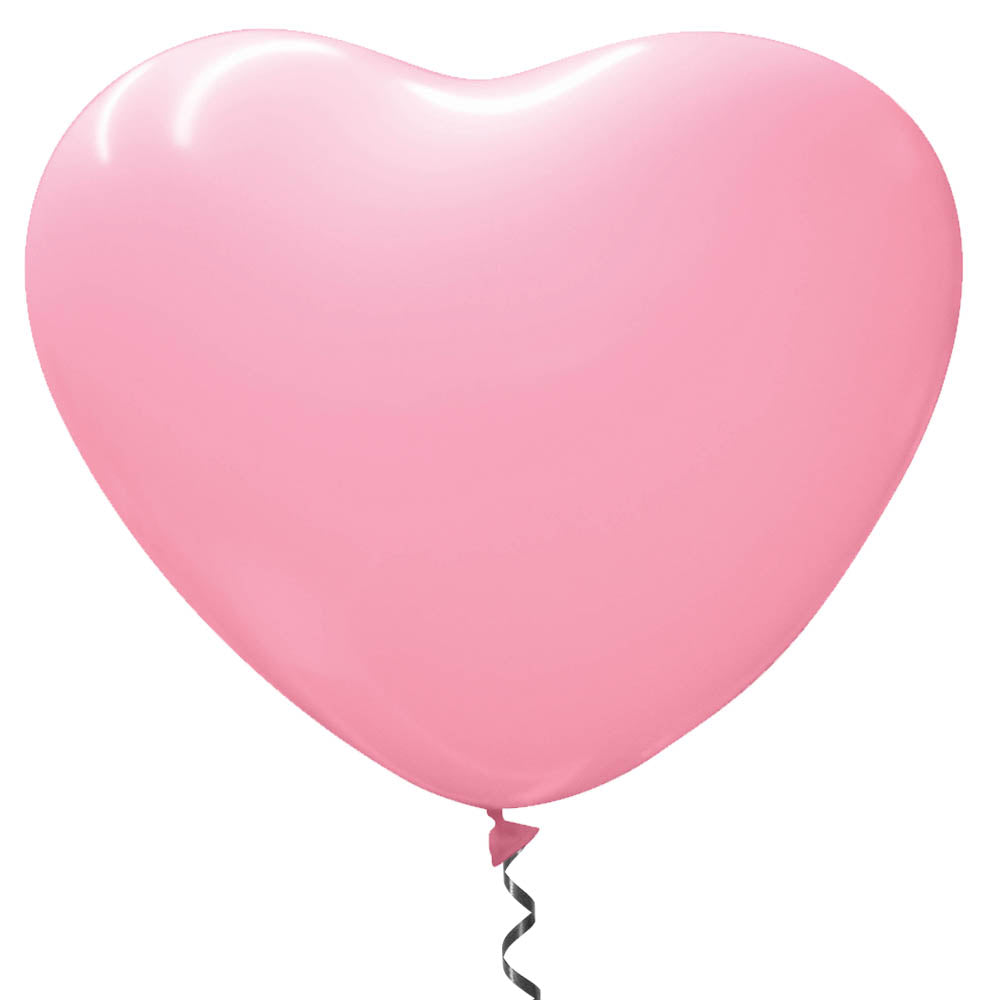 "Giant Pink Heart Shaped Latex Balloons - 29"" - Pack of 2"