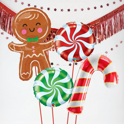 Inflated Christmas Gingerbread Man Balloon Bundle in a Box