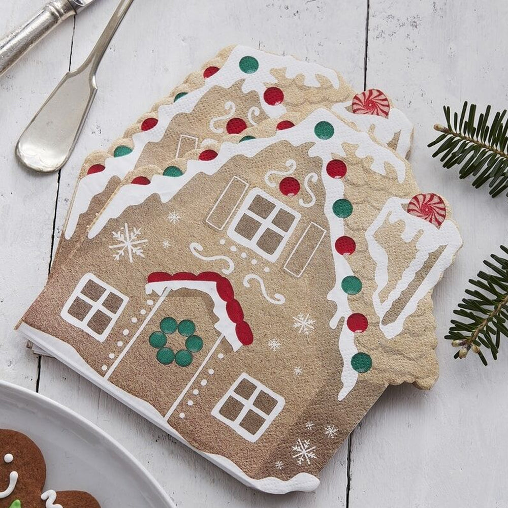 Gingerbread House Shape Paper Napkins - 17cm - Pack of 16