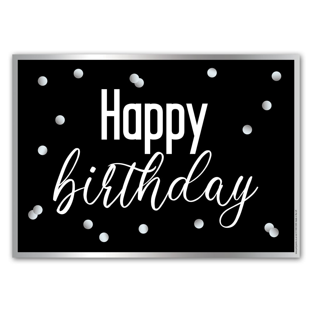 Glitsy Black & Silver Happy Birthday Poster Decoration - A3