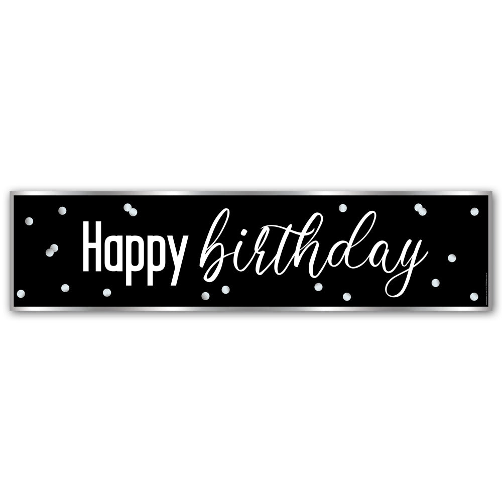 Glitz Black & Silver Happy Birthday Banner - 1.2m