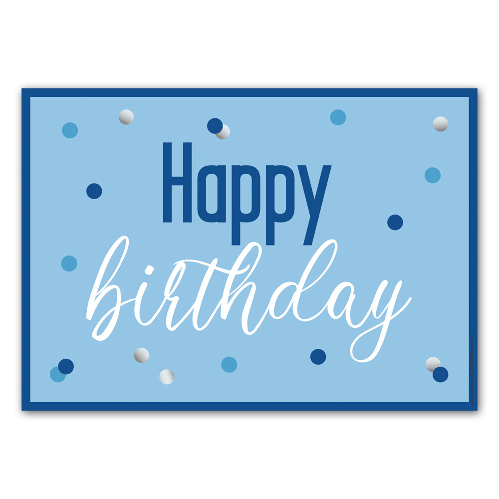 Glitsy Blue Happy Birthday Poster Decoration - A3