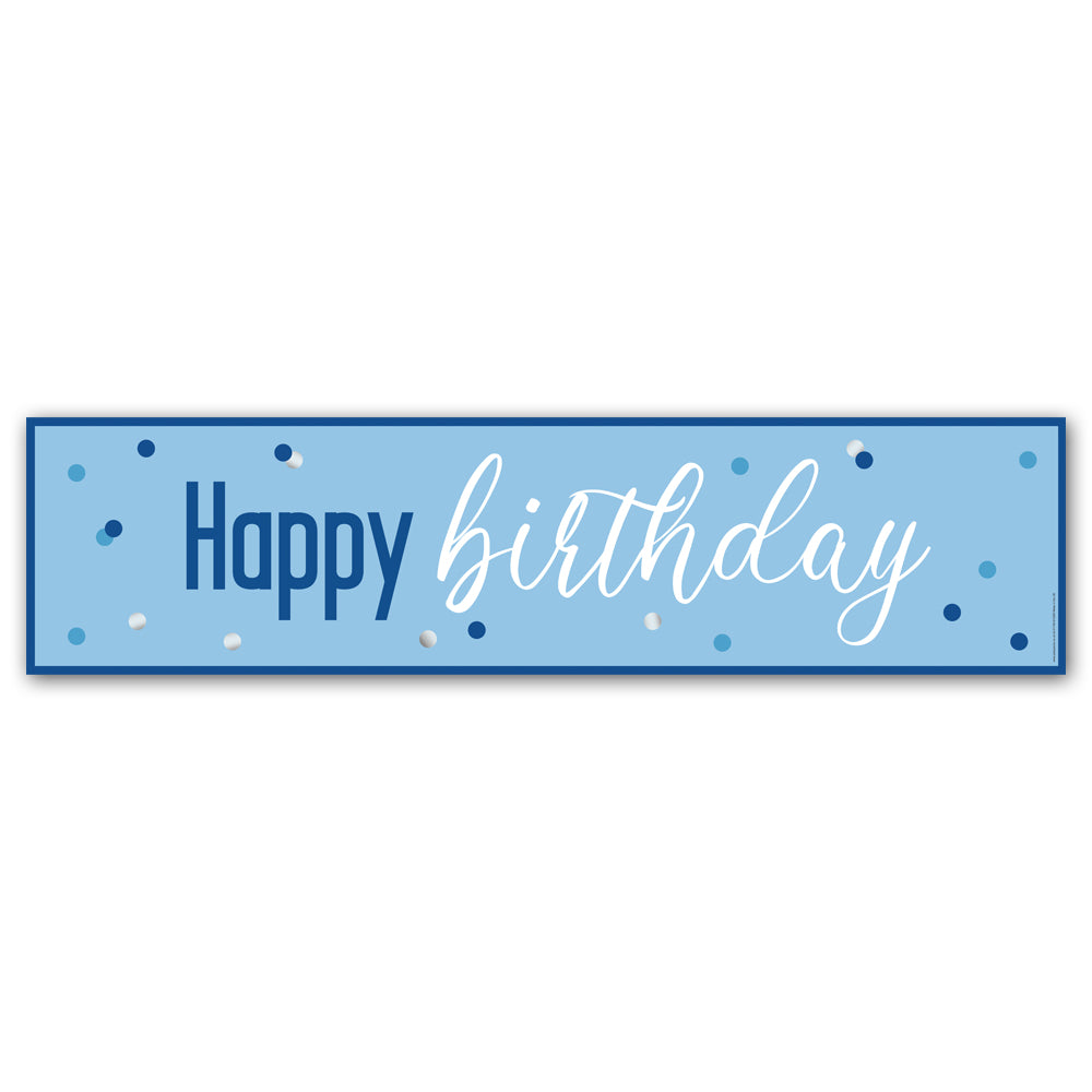 Glitsy Blue Happy Birthday Banner - 1.2m