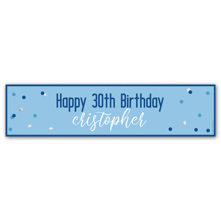 Glitz Blue & Silver Personalised Banner - 1.2m