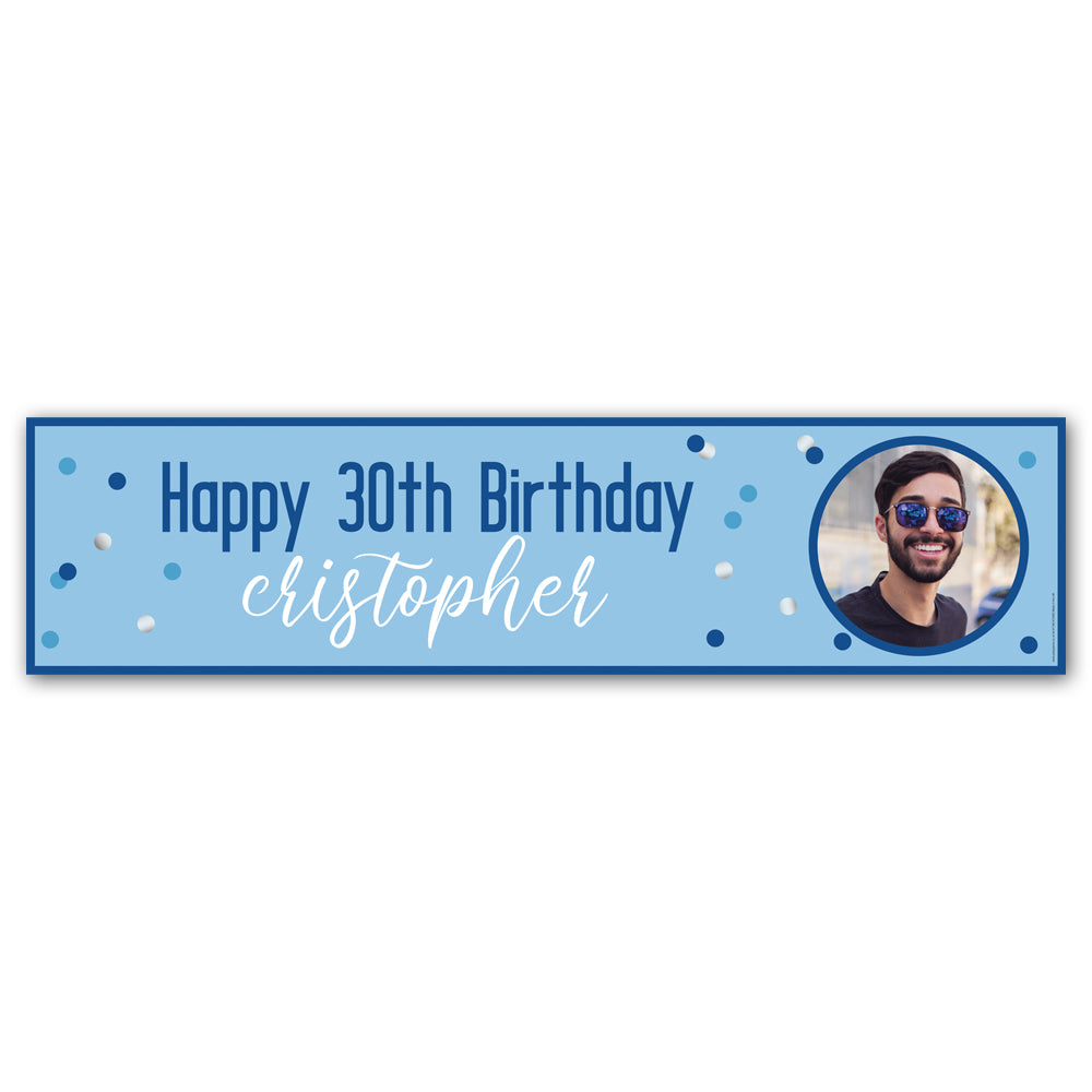 Glitsy Blue Personalised Photo Banner - 1.2m