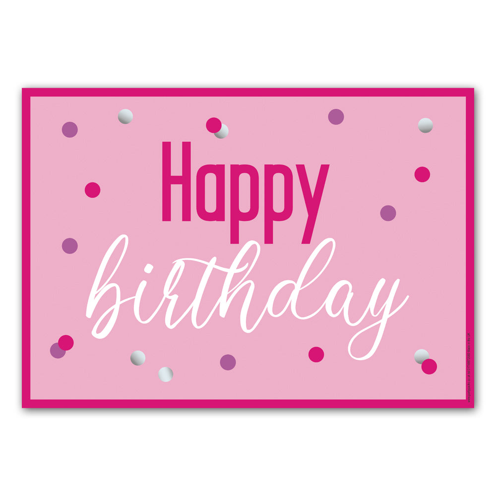 Glitsy Pink Happy Birthday Poster Decoration - A3