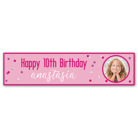 Glitz Pink Personalised Photo Banner - 1.2m