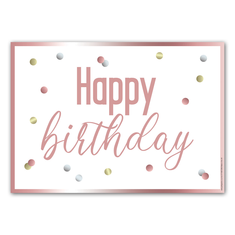 Glitsy Rose Gold Happy Birthday Poster Decoration - A3