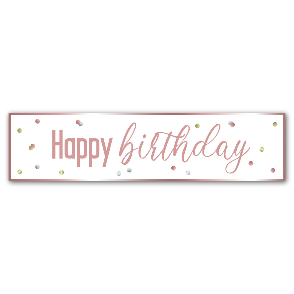 Glitsy Rose Gold Happy Birthday Banner - 1.2m