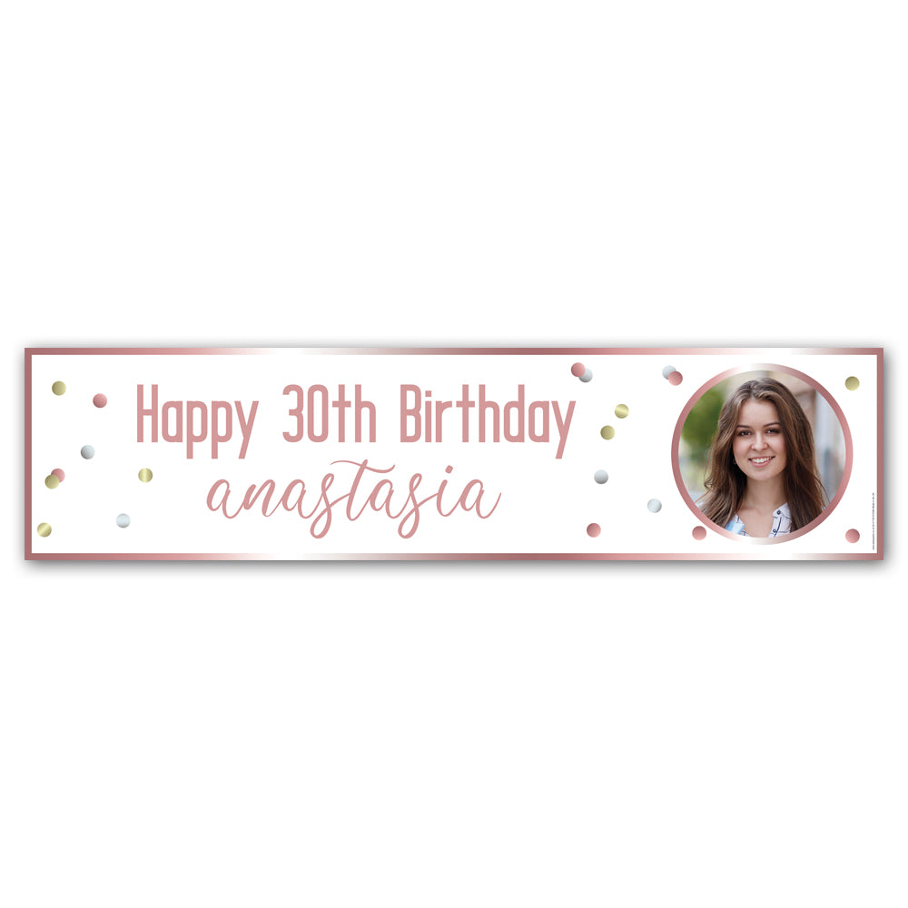 Glitz Rose Gold Personalised Photo Banner - 1.2m