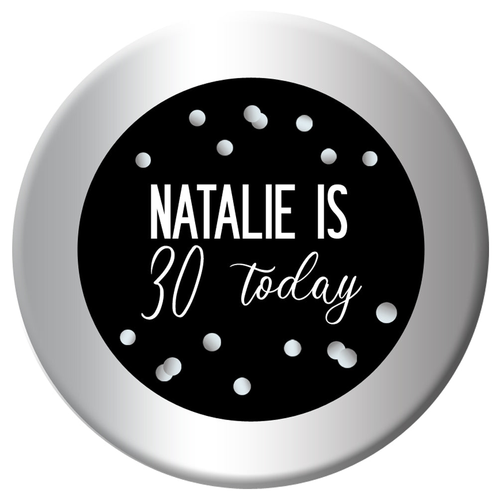 Personalised Glitz Black & Silver Badge - 58mm