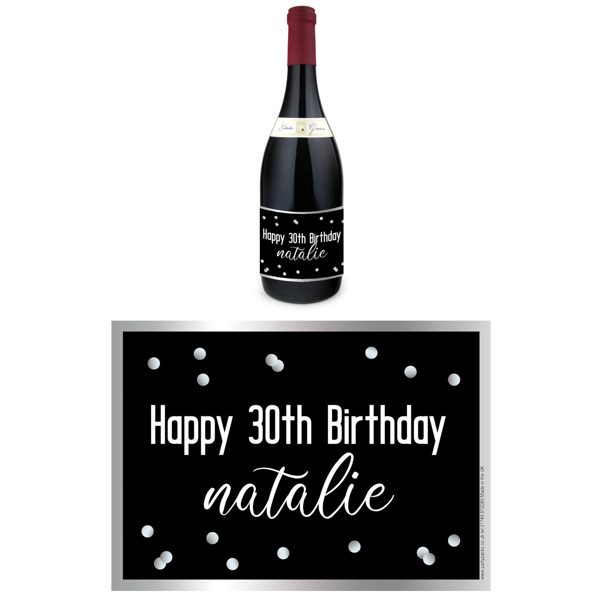 Personalised Wine Bottle Labels - Glitz Black & Silver - Pack of 4