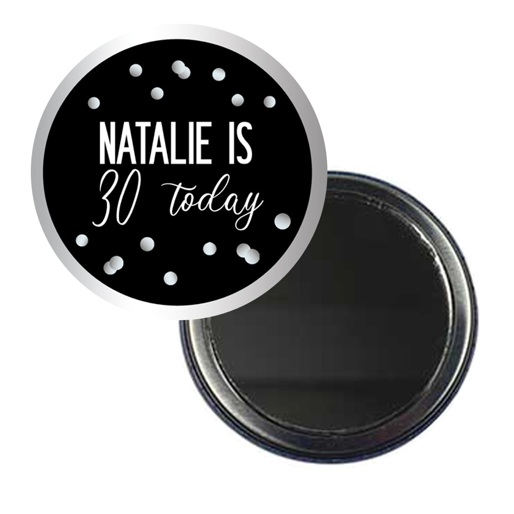 Glitz Black & Silver Personalised Pocket Mirror - 58mm - Each