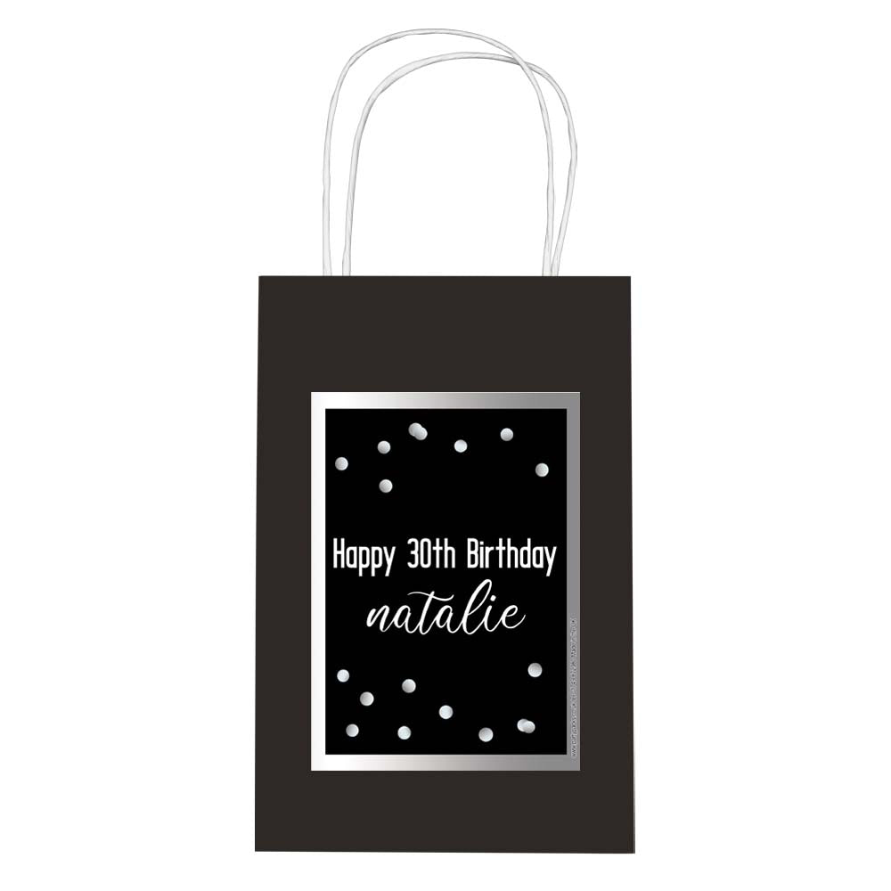 Personalised Glitz Black & Silver Paper Party Bags - Pack of 12