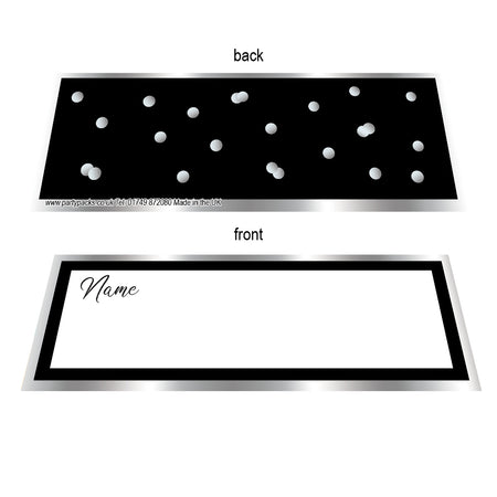 Black & Silver Glitz Placecards - Pack of 8