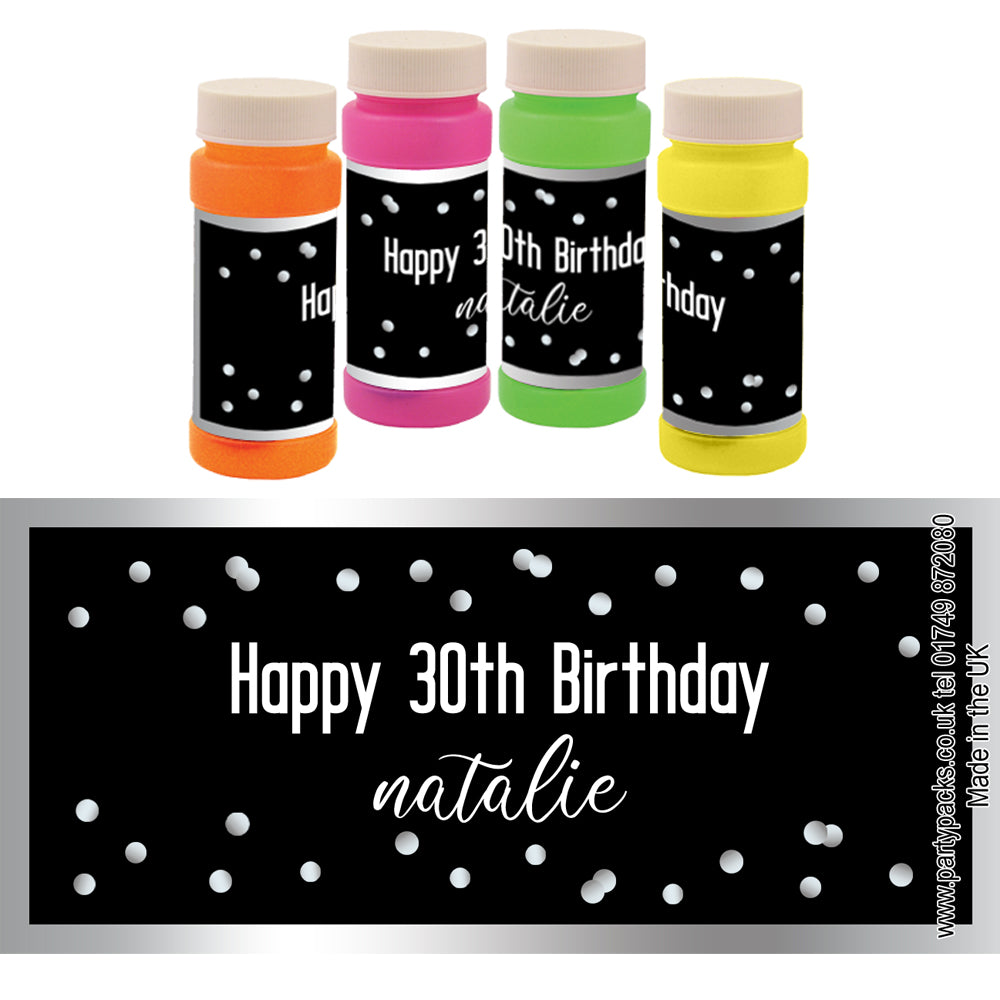 Personalised Bubbles - Glitz Black & Silver - Pack of 6