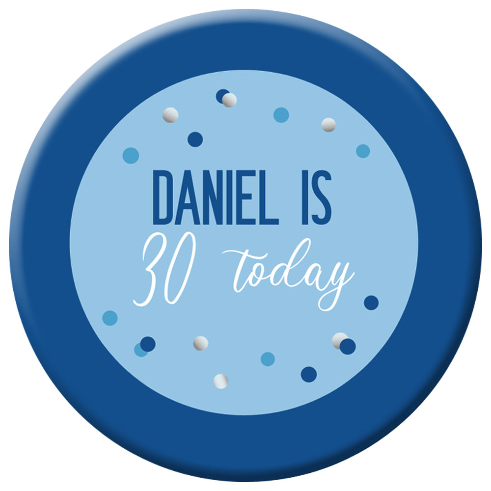 Personalised Glitz Blue Badge - 58mm