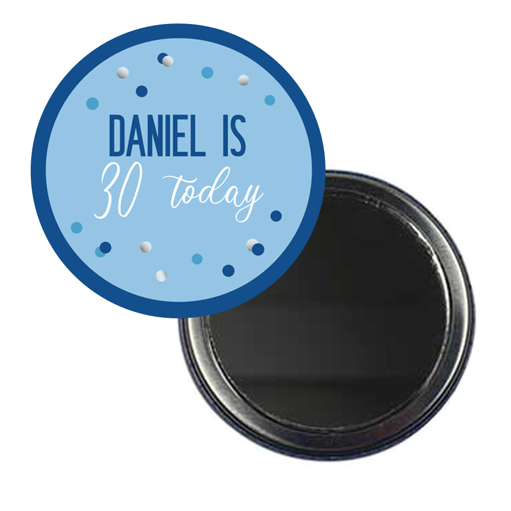 Glitz Blue Personalised Pocket Mirror - 58mm - Each