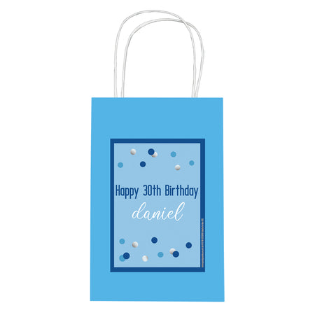 Personalised Glitz Blue Paper Party Bags - Pack of 12