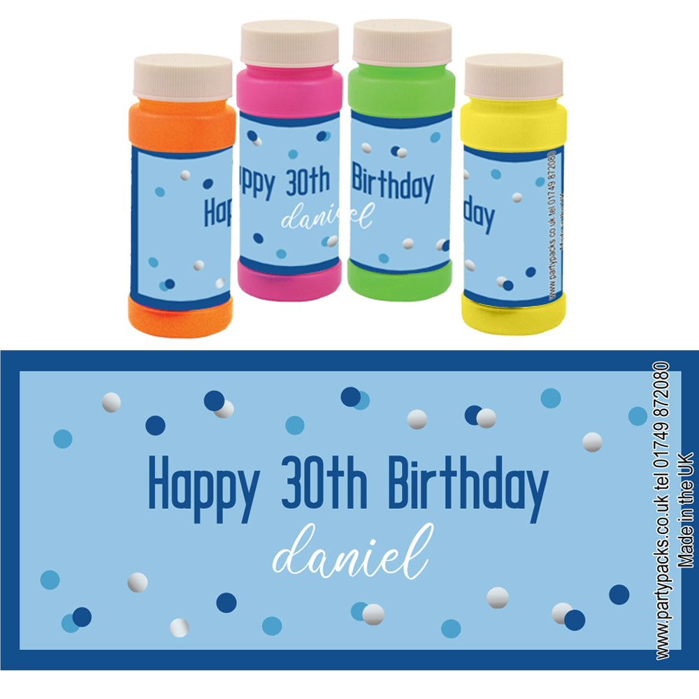 Personalised Bubbles - Glitz Blue - Pack of 6