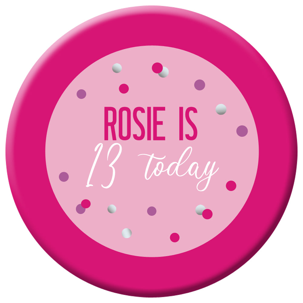 Personalised Glitz Pink Badge - 58mm