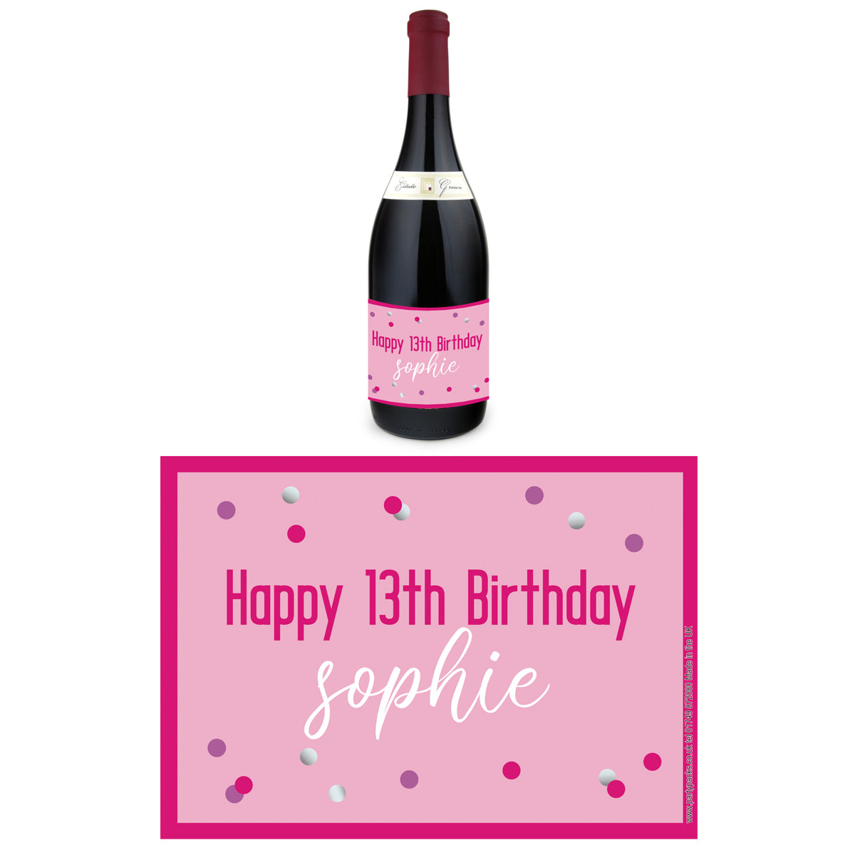 Personalised Wine Bottle Labels - Glitz Pink - Pack of 4