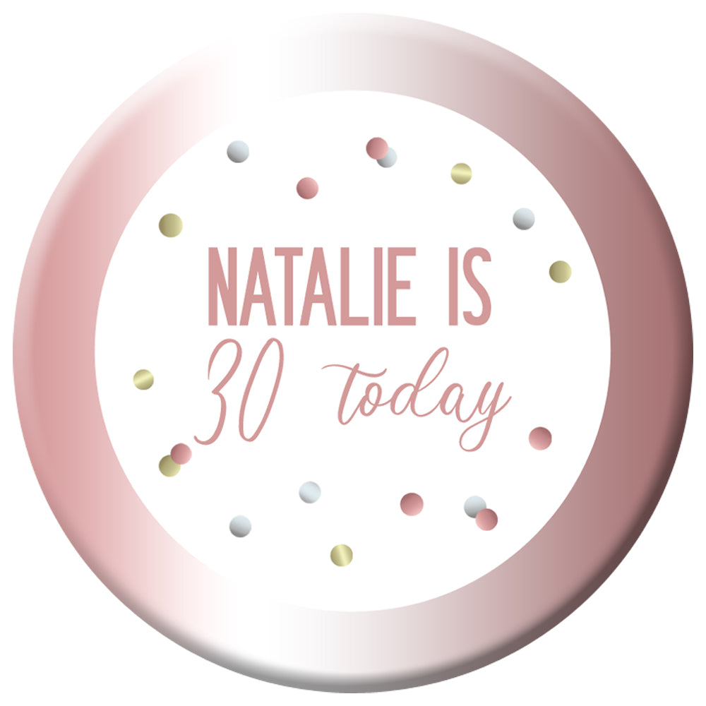Personalised Glitz Rose Gold Badge - 58mm