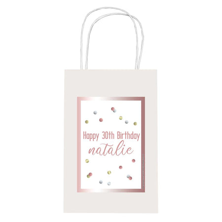 Personalised Glitz Rose Gold Paper Party Bags - Pack of 12