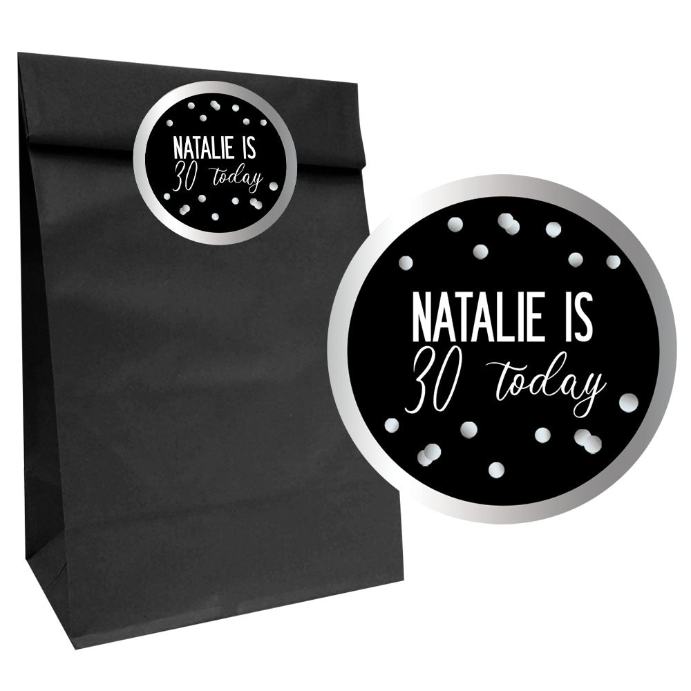Glitz Black & Silver Party Bags with Personalised Stickers - Pack of 12