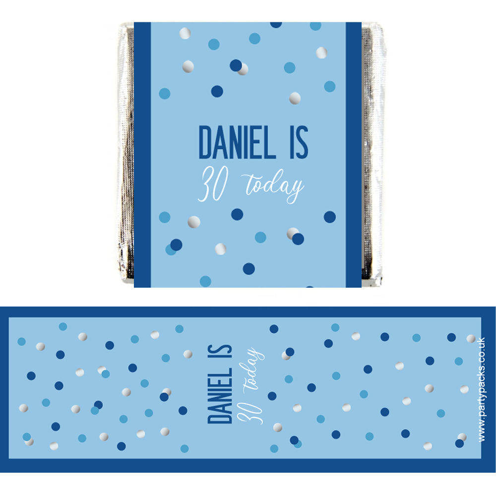 Personalised Chocolates - Glitz Blue - Pack 16
