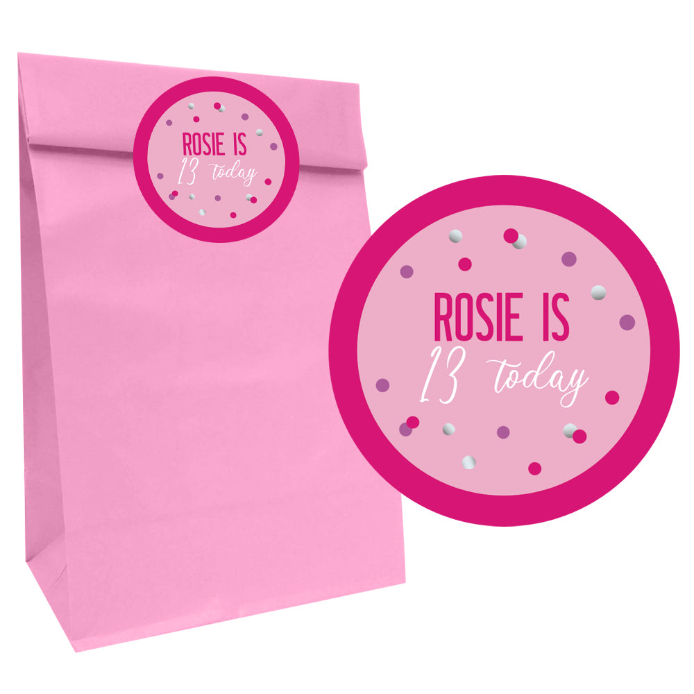 Glitz Pink Party Bags with Personalised Stickers - Pack of 12