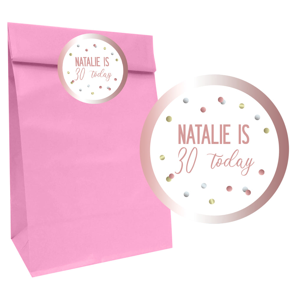 Glitz Rose Gold Party Bags with Personalised Stickers - Pack of 12
