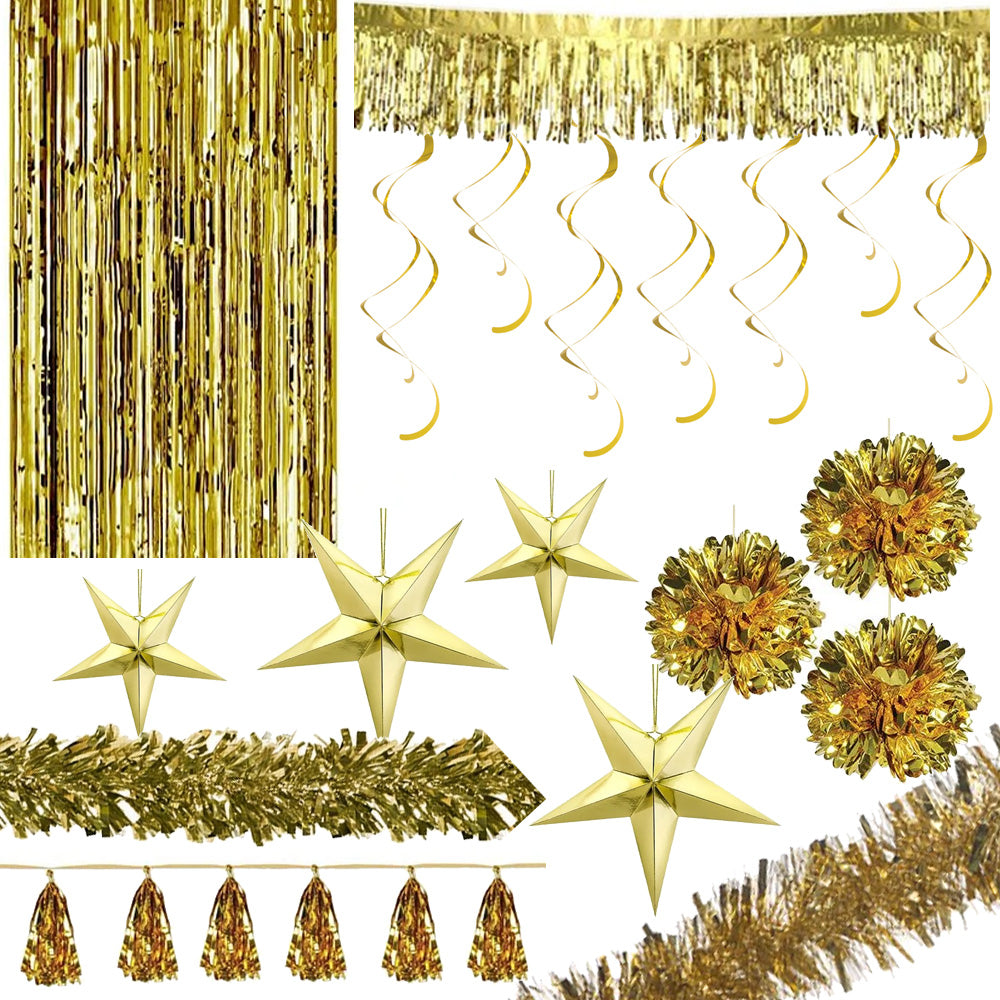 Gold Foil Christmas Decoration Party Pack