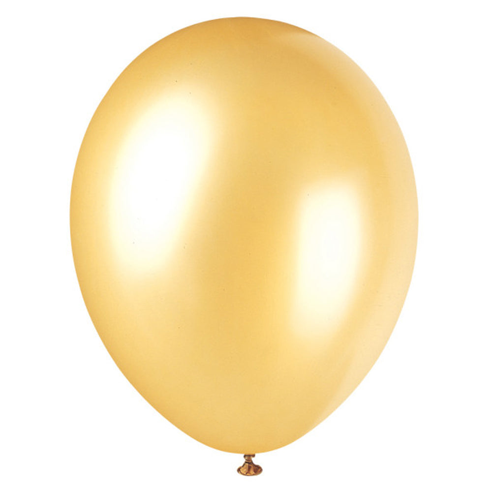 Gold Pearlised Latex Balloons - 12''