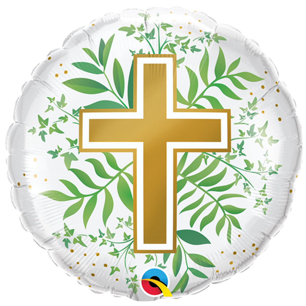 "Golden Cross & Greenery 18"" Foil Balloon"