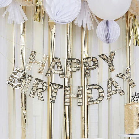 Gold Happy Birthday Fringe Bunting - 1.5m