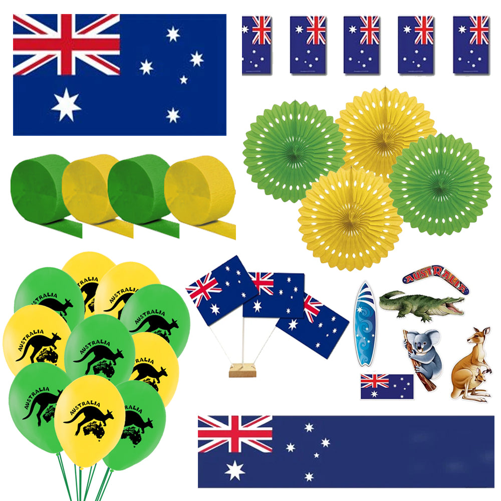 Green and Yellow Australian Decoration Party Pack