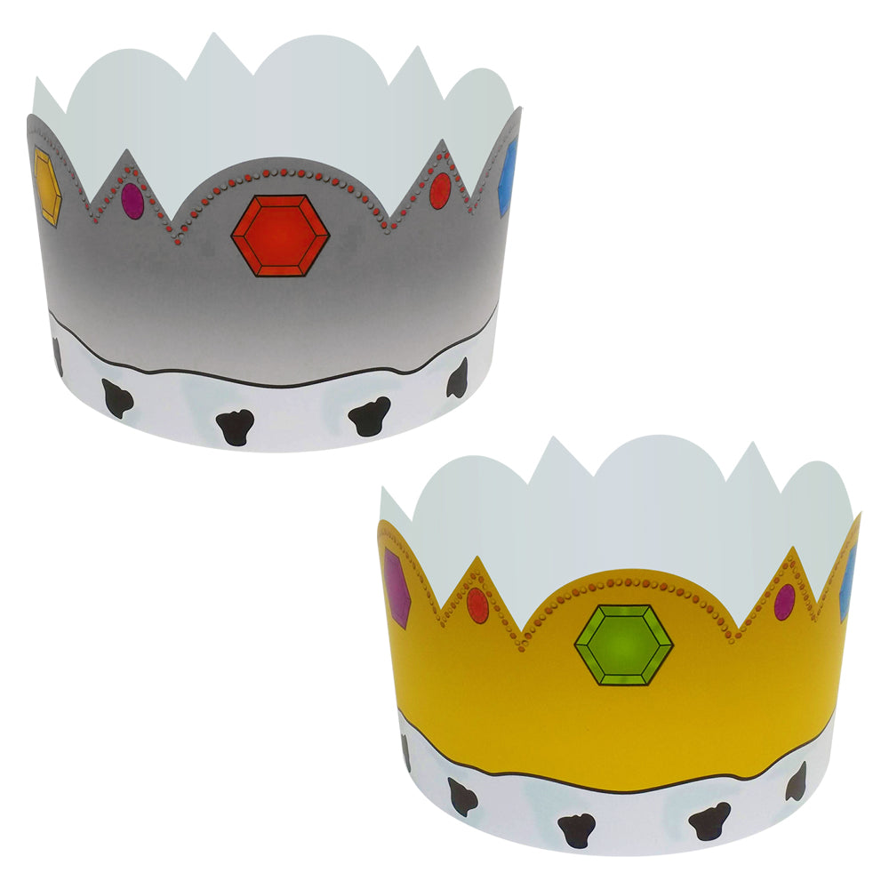 King & Queen Card Crowns Fancy Dress Hats - Gold & Silver - Each