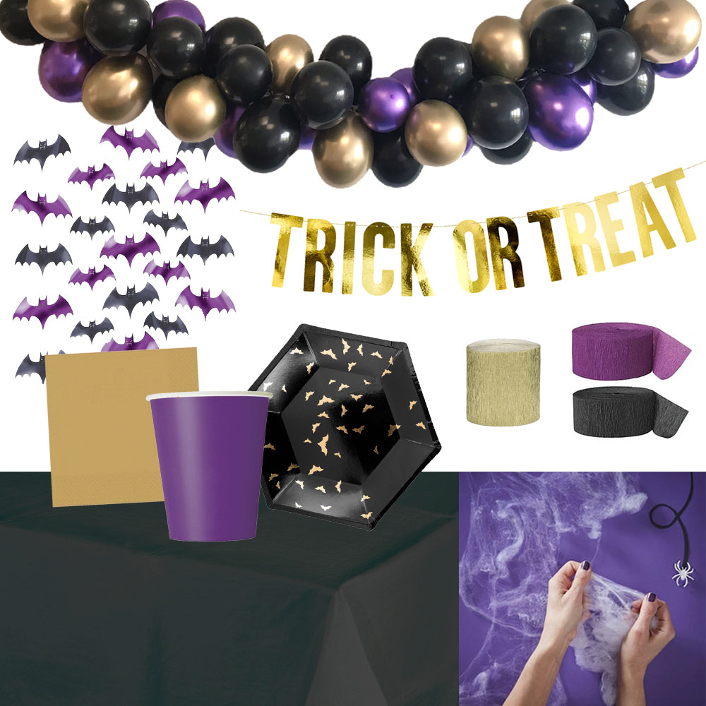 Halloween 'Party at Home' Decoration and Tableware Pack