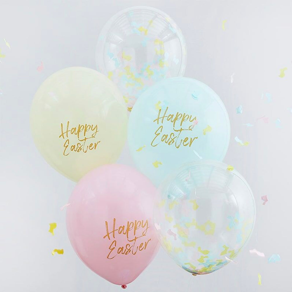 Happy Easter Confetti & Pastel Balloons - Pack of 5