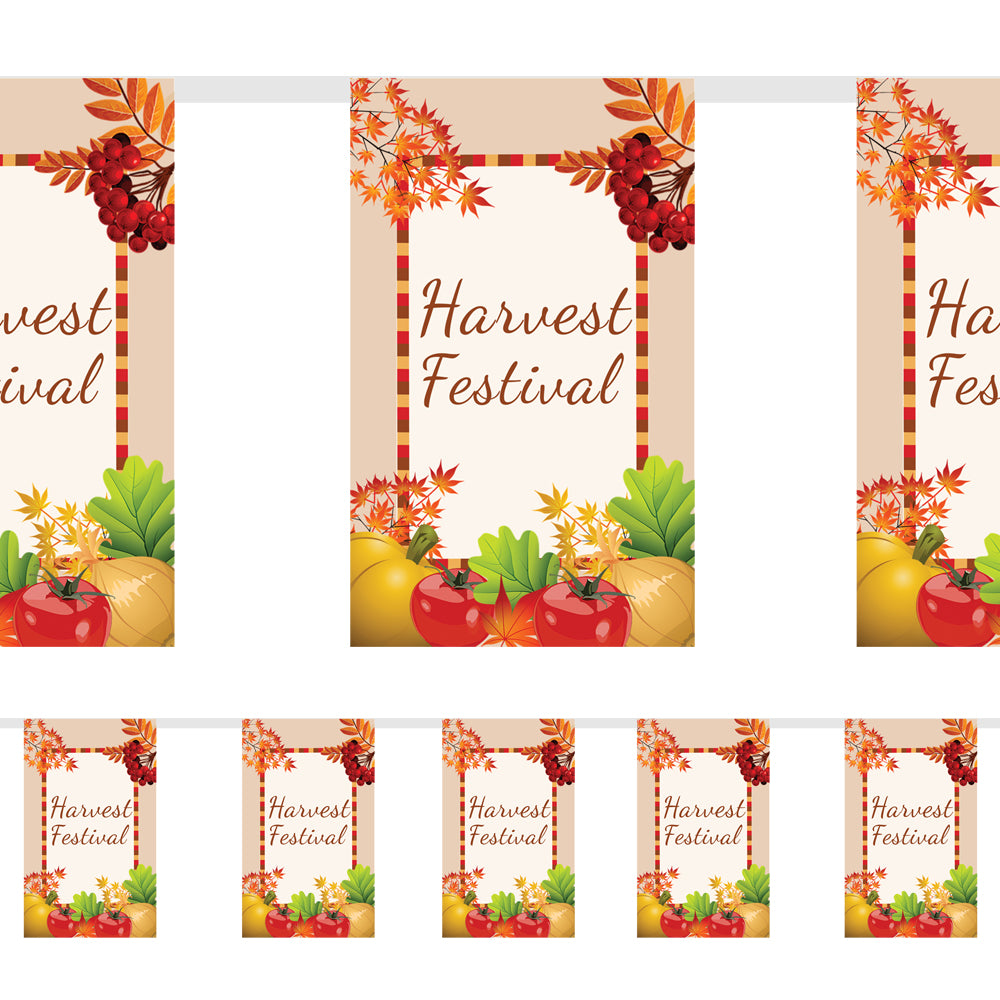 Harvest Festival Small Flag Bunting 2.4m