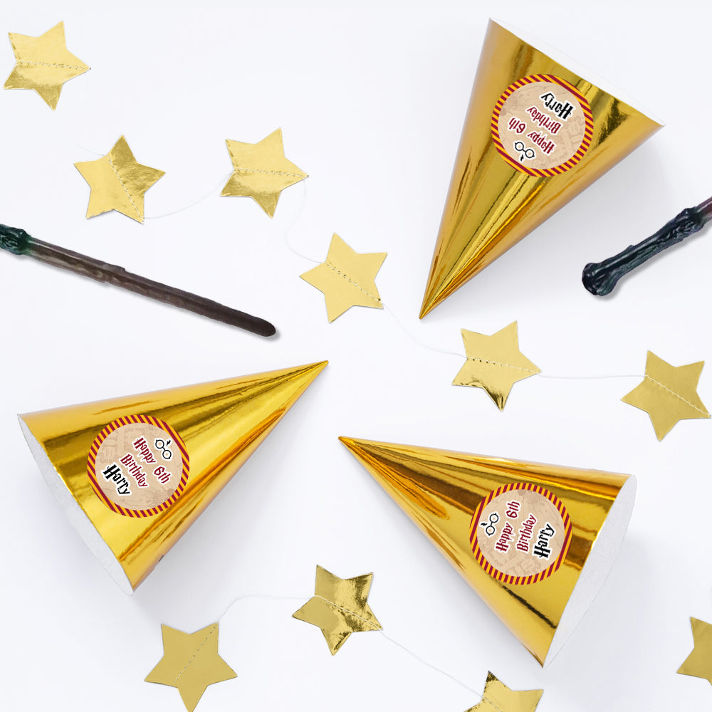 Wizard Personalised Cone Hats- Pack of 12