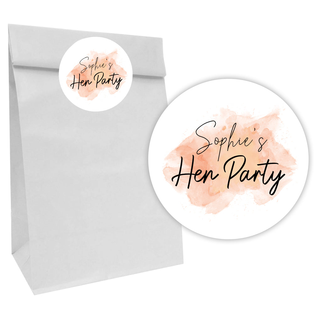 Rose Gold Blush Party Bags with Personalised Stickers - Pack of 12