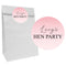Pink Hen Party Party Bags with Personalised Stickers - Pack of 12
